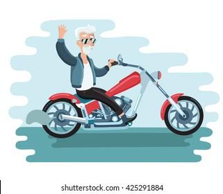 Vector illustration of old cartoon biker ride the motorcycle