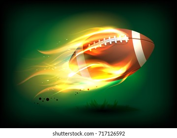 Vector illustration of an old classic leather rugby ball with laces and stitching in a fiery flame, sport success concept