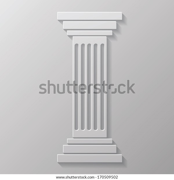 Vector Illustration with Old Column for Your Design. Grey Greek Pillar Icon
