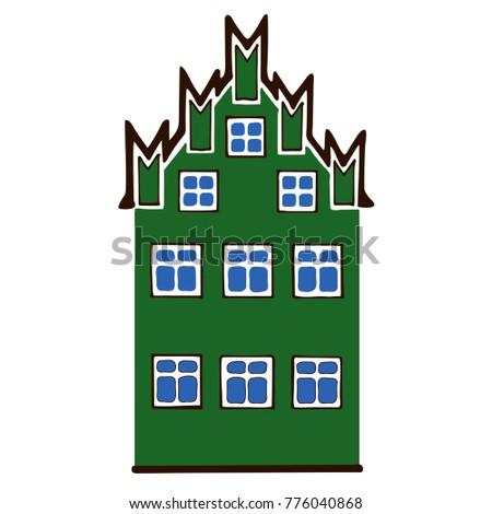 Vector Illustration Old European House Minimalist Stock Vector