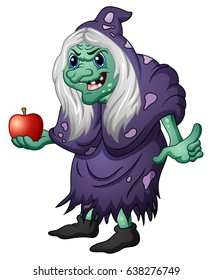 Vector illustration of Old evil witch holding an apple