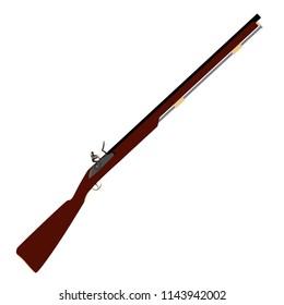 Vector illustration of old fashioned rifles. Muskets or flintlock gun.