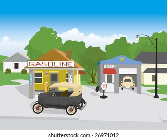 Vector illustration of an old gas station with an old car.