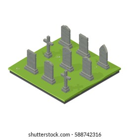 Vector illustration of an old graveyard. Exterior isometric view a cemetery with graves and gravestones.