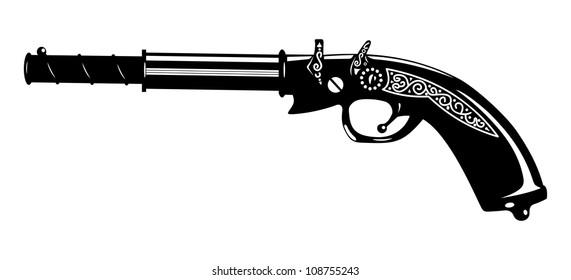 vector illustration of an old gun.