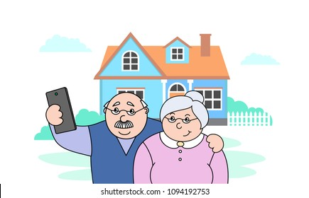 vector illustration old happy old  man and old lady making selfies on the phone,family photo portrait of grandparents,cartoon design