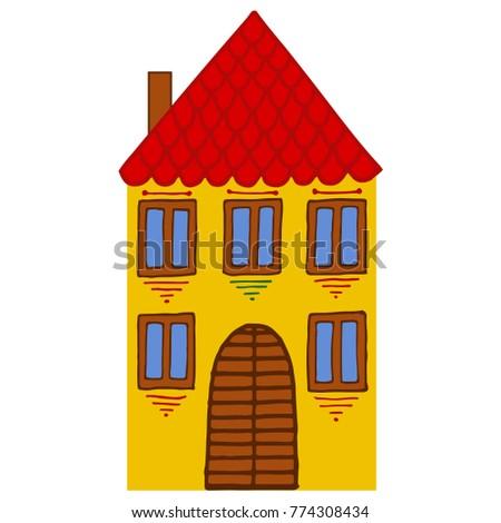 Vector Illustration Old House Minimalist Style Stock Vector Royalty