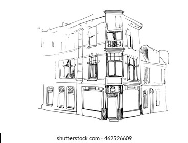 Vector Illustration of an old house on a corner of the street.