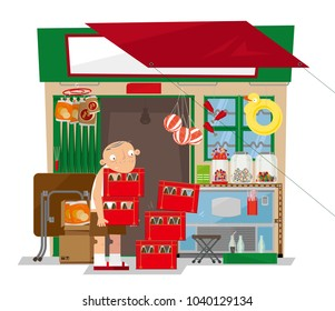 Vector illustration of a old local convenience store in Hong Kong. This small retail business stocks a range of items such as snack foods, candy, soft drinks and toys.