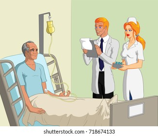 Vector illustration of an old male patient in bed in hospital on a drip complaining with a consultant blond doctor and kind blonde nurse at his bedside.