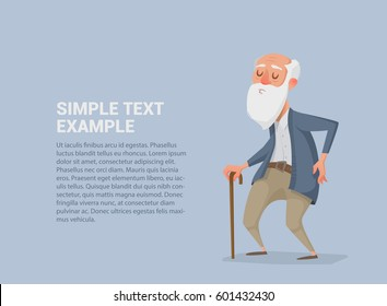 Vector illustration of old man with a beard and a cane. Can be used in booklets, web, magazines.