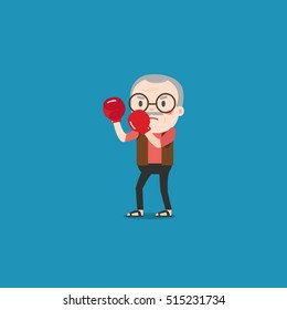 Vector illustration of old man with boxing gloves.