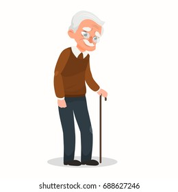 Vector illustration old man.  An elderly man with glasses and walking cane.