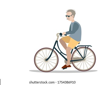 vector illustration of an old man with gray hair with glasses on a bicycle on a white background.  senior citizen rides a bicycle.  active leisure of the elderly