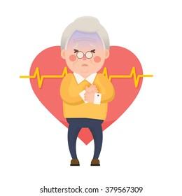Vector Illustration of Old Man having Chest Pain, Heart Burn, Heart Attack Cartoon Character