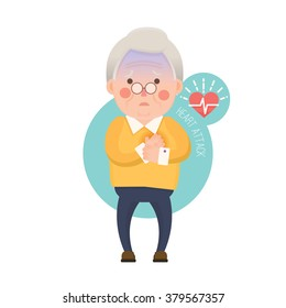 Vector Illustration of Old Man having Heart Attack, Cartoon Character