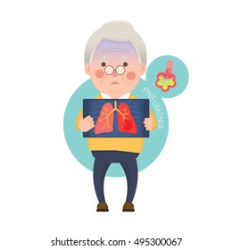Vector Illustration of Old Man Holding X-ray Image Showing Lung Pneumonia Problem, Cartoon Character