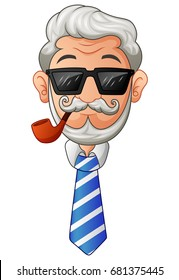 Vector illustration of Old man in necktie and glasses with the beard and moustache and a smoking pipe