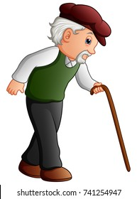Vector illustration of Old man walking with a cane