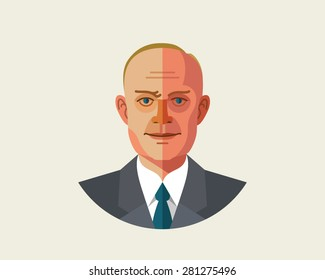Vector illustration of an old man who can be a businessman in a suit, tie and shirt in trendy flat style on a white background. Scientist Eisenhower