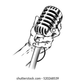 Vector illustration old microphone in hand made in engraving style
