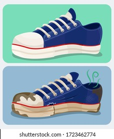 Vector illustration of an old and new pair of sneaker shoes