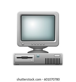 Vector illustration of an old personal computer with a monitor isolated on a white background