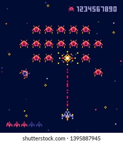 Vector illustration of old pixel art style Ufo space war game. Pixel monsters and spaceship. Retro game, 8 bit game concept, trendy 90s style.