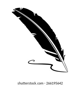 A vector illustration of an old quill and ink. Feather Quill and ink. A retro image of a writing with quill icon.