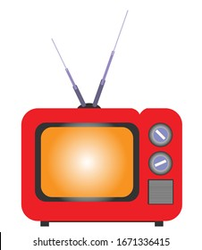 vector illustration of old retro tv with antenna and buttons