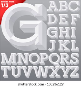 Vector illustration of old school beveled alphabet. Simple white version. Upper case
