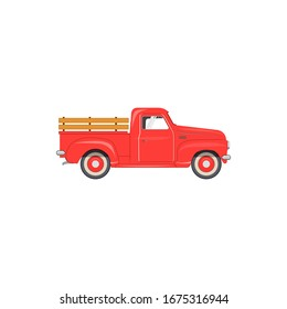 Vector Illustration of the old school Farmer's Red Pickup Truck for Your Poster Flyer Invitation Postcard Banner Design. car pickup icon