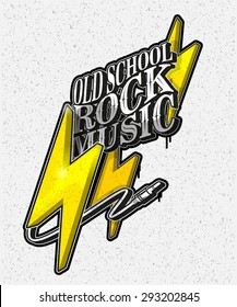 vector illustration, old school rock music. Printing on T-shirts, logo, background
