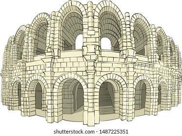 Vector illustration of the old stone coliseum arena in Arles. France. Provence.