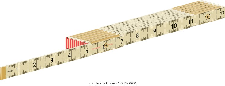 Vector illustration of am old style folding carpenter's ruler, in inches. Each section is group separately so different lengths and shapes can be made.