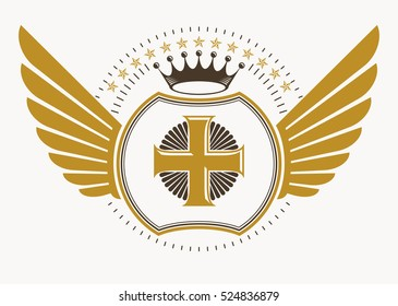 Vector illustration of old style heraldic emblem decorated with eagle wings and made with religious cross and monarch crown