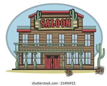 vector illustration of an old time saloon
