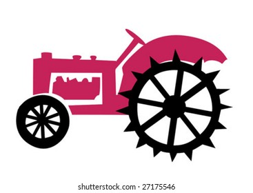vector illustration of the old tractor