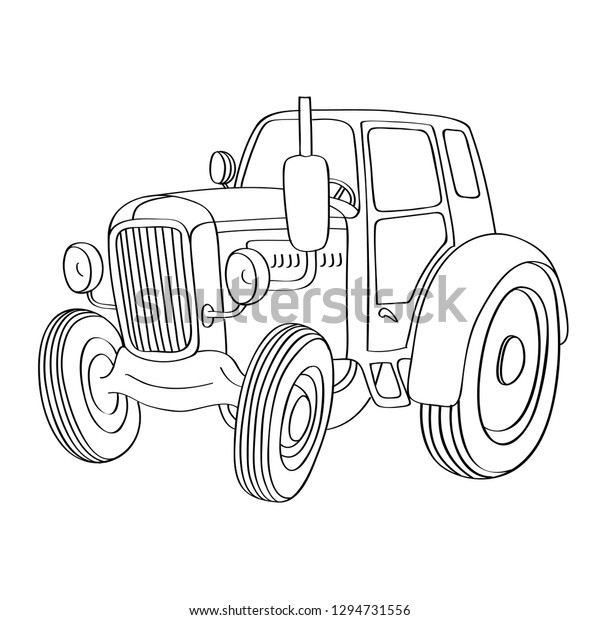 Vector Illustration Old Tractor Coloring Book Stock Vector ...