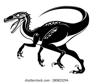Vector illustration of old version raptor without feathers.