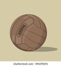 Vector illustration of old vintage soccer ball