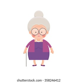 Vector Illustration of Old Woman in Purple Dress with Walking Stick