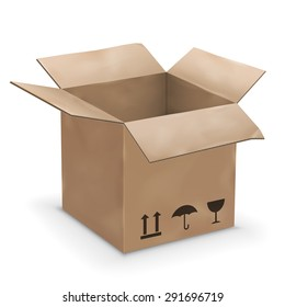 Vector illustration of old worn opened cardboard box
