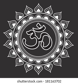 Vector illustration of an OM religious and spiritual symbol
