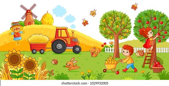 Vector illustration on a agricultural theme. The tractor in the field cleans the hay. Boy and a girl are harvesting.