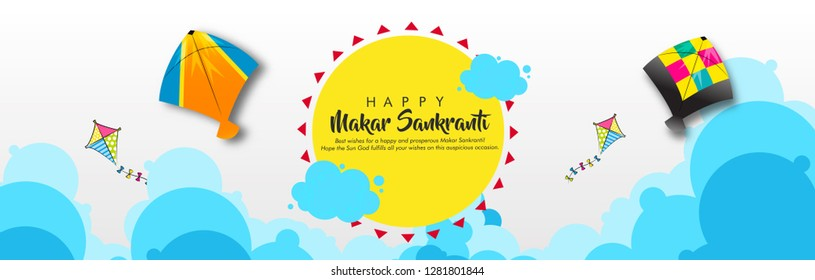 vector illustration on banner and header for indian kite festival makar sankranti with colorful kites and clowd with beautiful calligraphy.