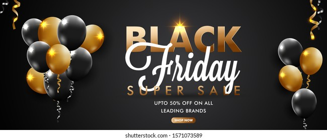 Vector illustration on Black Friday super Sale poster with realistic golden and black shiny balloons. upto 50% discount.