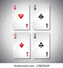 Vector illustration on a casino theme with playing poker cards. Poker aces set template. Eps 10 design.