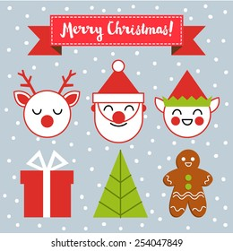 Vector illustration on a Christmas theme, with Santa Claus, reindeer and elves