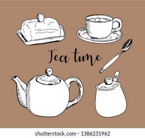 Vector illustration on color background. A Cup of tea and a kettle on the table. Tea time. teapot.